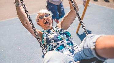 Older lady on a swing